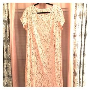 Blush pink lace dress!